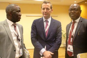 L-R: Executive Director, Inlaks, Femi Muraino, World Economic Forum [WEF], Young Global Leader, Christian Wessels, and MD/CEO, Inlaks, Femi Adeoti at the Electronic Waste session of the 23rd Nigerian Economic Summit Group [NESG] which incorporated WEF in Abuja recently